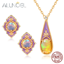 ALLNOEL Opal Gemstone Fine Jewelry Sets For Women Necklace Earrings 100% Sterling Silver 925 Gold Wedding Gift Prevent allergy