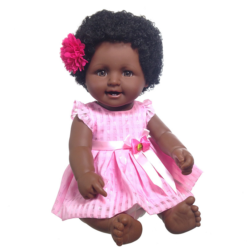 Cross Border For Large Size Vinyl Africa Doll Black Doll Model Infant Boys And Girls Black And White With Pattern Curly Hair Bab