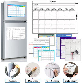 Magnetic Weekly Monthly Planner Calendar Table Dry Erase Calendar Whiteboard Schedules Fridge Sticker Message Board A3 Size