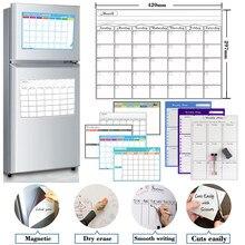 Tabela mensal magnética do calendário do planejador semanal seco apagar horários quadro branco geladeira etiqueta placa de mensagem tamanho a3