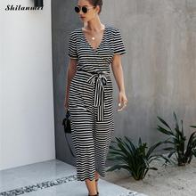 Elegant Jumpsuits Women Sleeveless Striped Jumpsuit With Belt Loose Trousers Wide Leg Pants Rompers Belted Leotard Overalls цена 2017