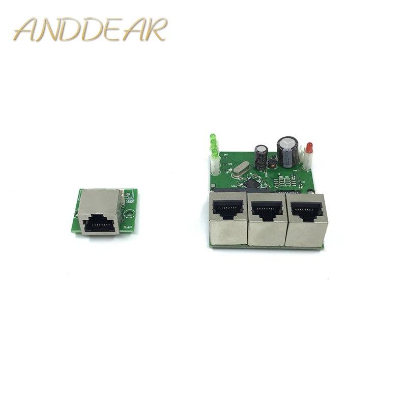 10 / 100mbps OEM Factory Direct Mini Fast 10 / 100mbps 3-port Ethernet Network Lan Hub Switch Board