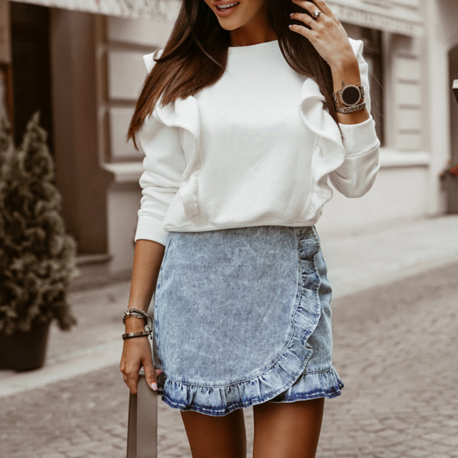 Women Tops And Bloues Autumn Winter Women  Casual O Neck Ruffle Blouse Shirt Long SleeveThick Pullover Top