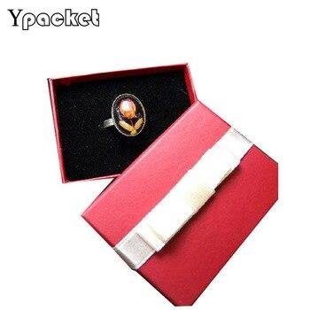 100pcs/Lot  Jewelry Organizer Box Engagement Elegant Square Wine-Red Earring Finger Ring Pendant Jewerly Box 6.5*5*2.5cm