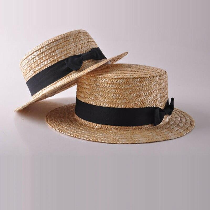 Summer Women Daughter Boho Straw Sun Hat Bow Flat Wide Brim Beach Cap Hot 2020