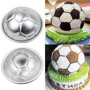 Image 5 - 2 teile/satz 3D Fußball Form Kuchen Form AluminumBall Kugel ungiftig Kuchen Form Schokolade Pan Mold Küche Backen Werkzeuge