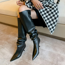 Winter Over the Knee Boots Women Natural Genuine Leather Thick High Heel Thigh High Boots Pleated Long Shoes Ladies Fall(China)