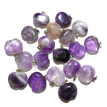 Wholesale 10 PSC Natural Amethysts Pendants Charm Lucky Stone Crystal Pendant for Jewelry Making Necklace or Bracelets for Women wholesale joursneige fine huang long natural stone pendants carving horse pendant necklace lucky for women gift zodiac jewelry
