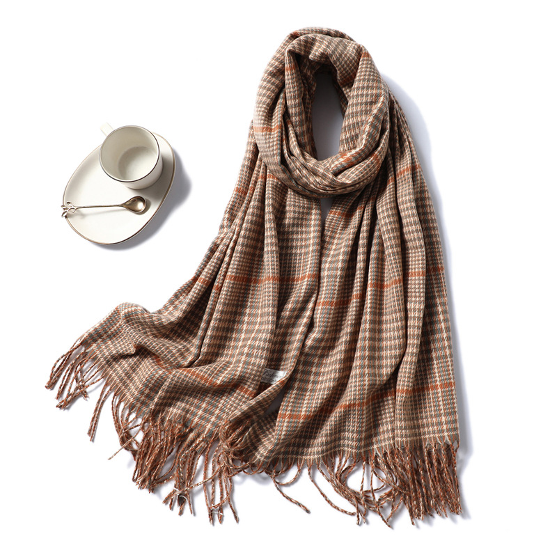Luxury Brand Cashmere Scarf Women Fashion Plaid Shawls And Wraps Thick Warm Pashmina High Quality Neck Scarves Lady Echarpe