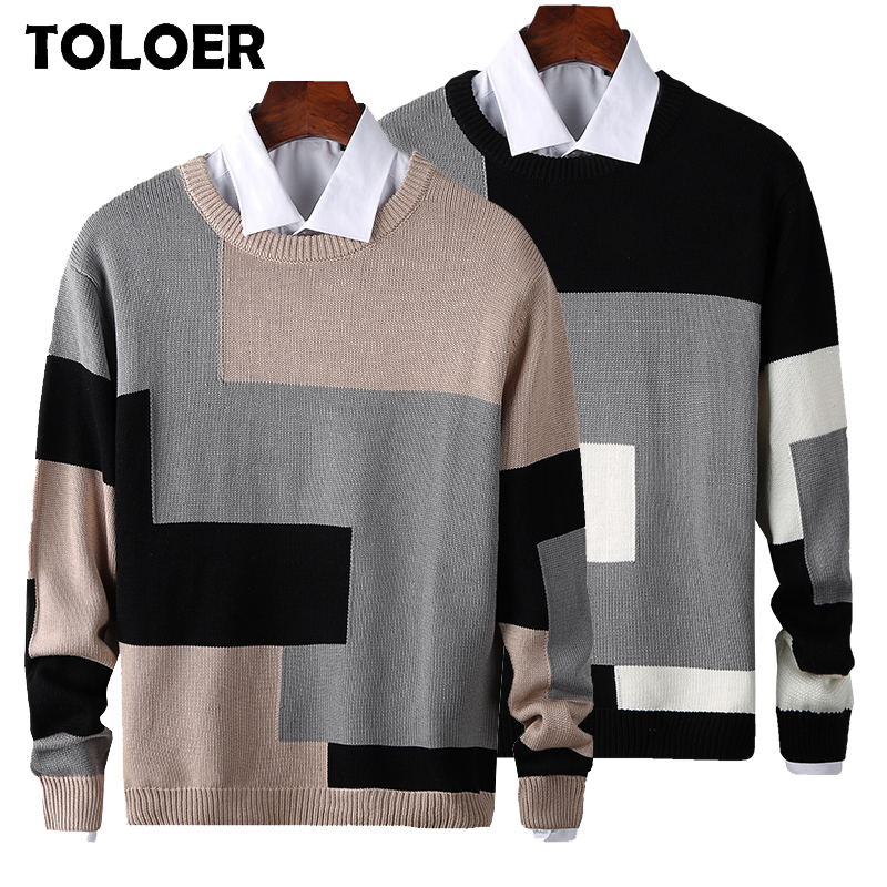 2020 Sweaters Men New Fashion Geometry Printed Casual O-Neck Slim Cotton Knitted Mens Sweaters Pullovers Men Brand Clothing 3XL