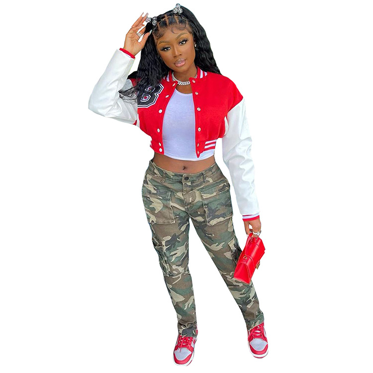 Hb0e99d64a97148728c27f1ee22087d61F Baseball Jackets for Women 2021 Autumn Letter Print Color Patchwork Cropped Long Sleeve Loose Short Bomber Jacket