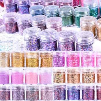 4 Boxes/set 10 ml/ Box Iridescent Nail Glitter Mix Lot Chunky Fine Gel Mixed Powder Sequins For UV Nails Art