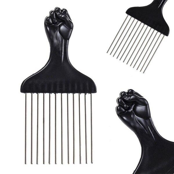 Black Fist Metal African Hair Pik Afro  Comb