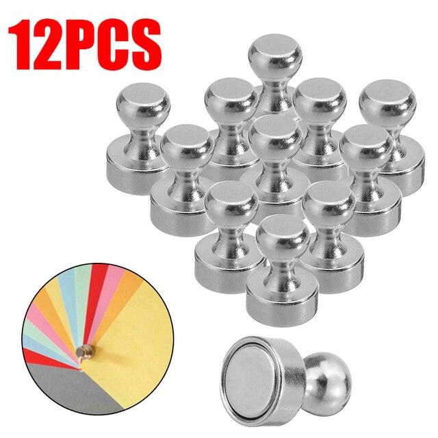 12 pièces Aimant Poussoir Aimants Au Néodyme pour Pupitre Réfrigérateur Tableau Blanc Carte Calendrier Bureau Note Fournitures