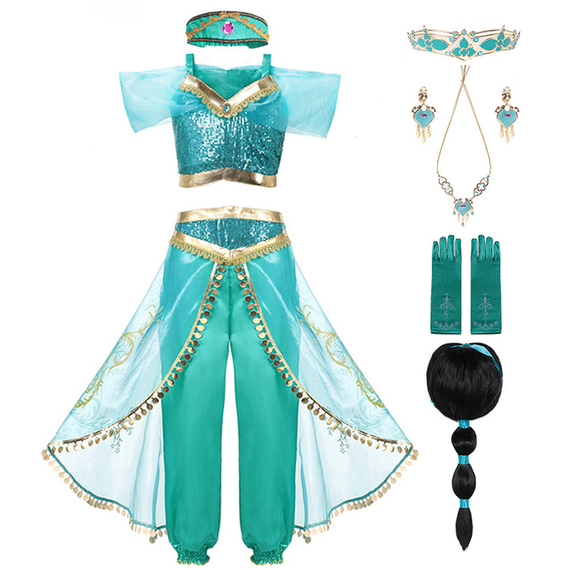 Kid Aladdin And The Magic Lamp's Princess Jasmine Costumes Top Pants Set With Headband Girl Jasmine Birthday Party Dress Cosplay
