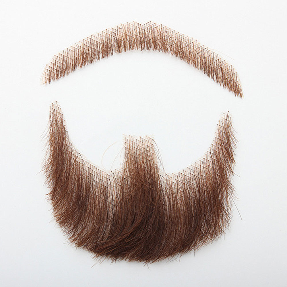 LiangMo Nep Lace Beard Hand Made By Real Hair Fake Beard For Man Mustache Fancy Synthetic Lace Invisible Mustachio Barba falsa image