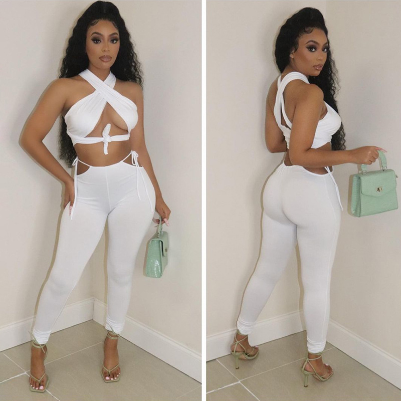 ANJAMANOR Sexy 2 Piece Sets Womens Vacation Outfits Summer Cross Halter Crop Top Hollow Out Pant Suits Club Wear D87-CC33 5