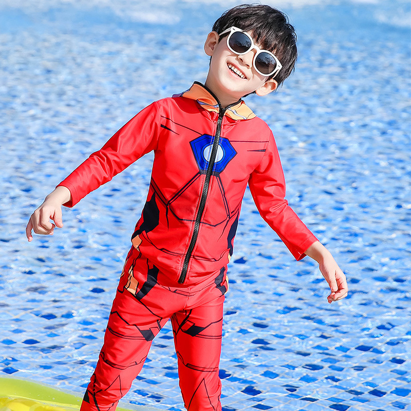 KID'S Swimwear BOY'S Handsome Cartoon Iron Man Children Sun-resistant Long Sleeve Split Type Two-Piece Set CHILDREN'S Swimsuit