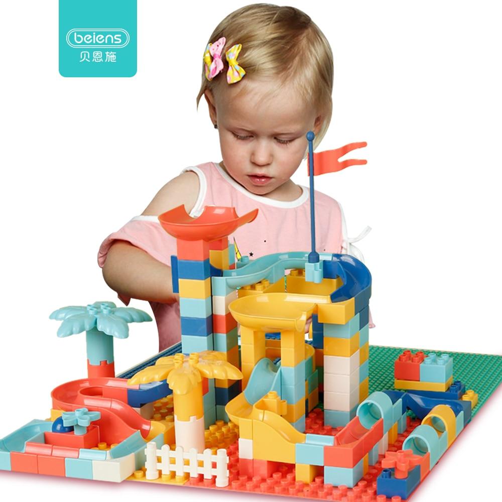 Beiens DIY Building Blocks Toys For Children 95-154 PCS Marble Race Run Block Compatible LegoINGlys Duploed Block Toy For Kids