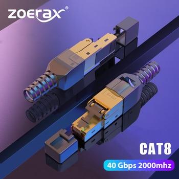 ZoeRax CAT8 /CAT7 /CAT6A Rj45 Connector Plug, Tool Free Shielded RJ45 Ends, Cat8 Field Termination Plug - 40Gbps 1