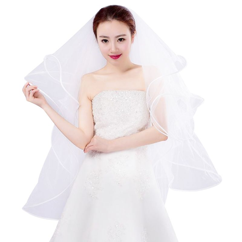 80cm 2 Layers Women Bridal White Long Wedding Tulle Veil Fish Bone Ribbon Edge Center Cascade Marriage Solid Color With Comb