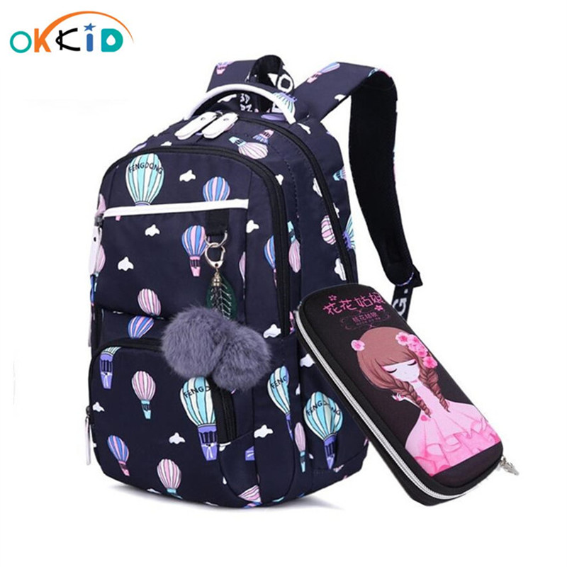 OKKID Children School Bags For Girls Russia Elementary School Backpack Cute Flower Print Pink Backpack Schoolbag Girl Book Bag