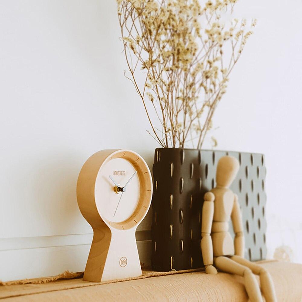 Réveil fait main bois matériau écologique horloge ensoleillée silencieux Non coutil horloge en bois pour bureau maison chambre salon - 2