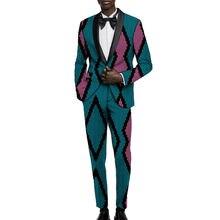 Пиджак с Африканским принтом и брюки мужские костюмы Дашики
