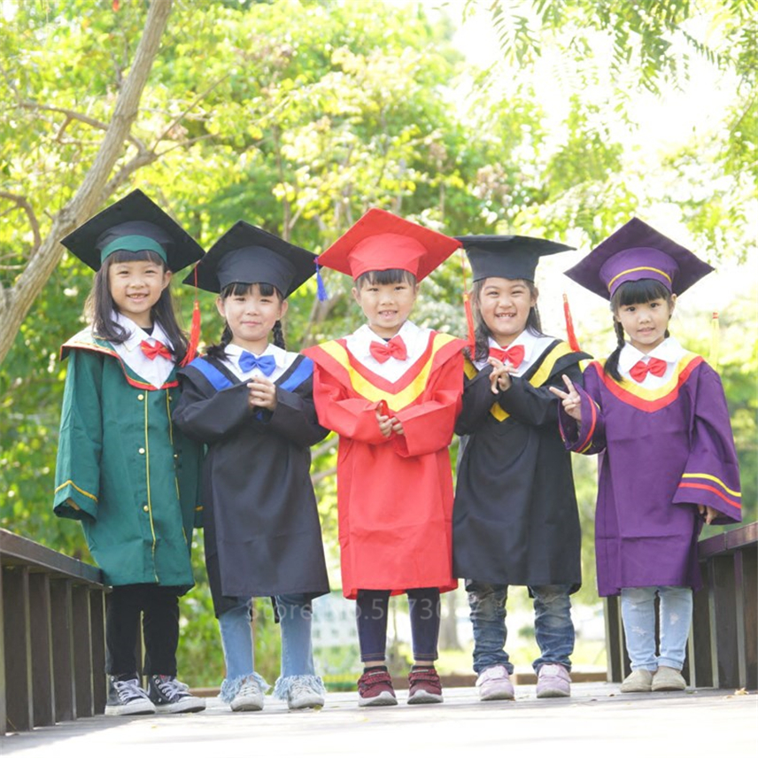 Children School Class Graduation Clothing Student Photography Academic Dress Doctor Gown Kids Performance Party Costumes Hat