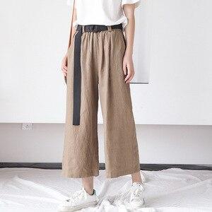 Image 3 - Johnature Frauen Breite Bein Hosen Taschen Elastische Taille 2020 Herbst Neue Feste Farbe Baumwolle Leinen Hosen Lässig Frauen Hosen