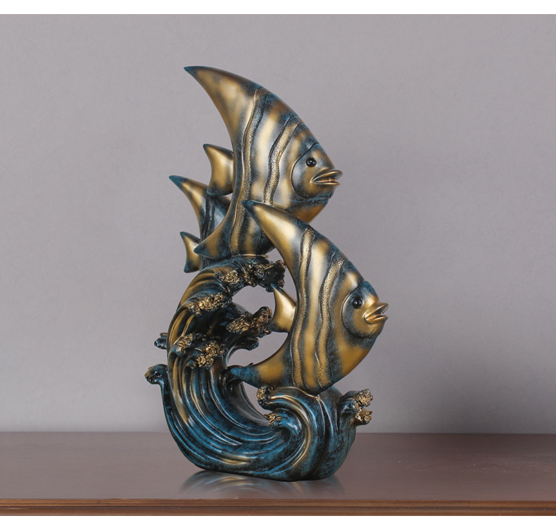 Christmas Halloween Modern Home Decorations Accessories Fish Feng Shui Ornaments Home Decor Figurine for Living Room, Bedroom