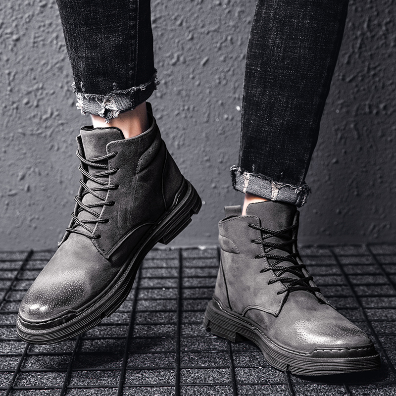 Men Casual Martin Boots Microfiber Man Flats Lace Up Breathable Men Fashion High Top Classic Outdoor Shoes Zapatos De Hombre