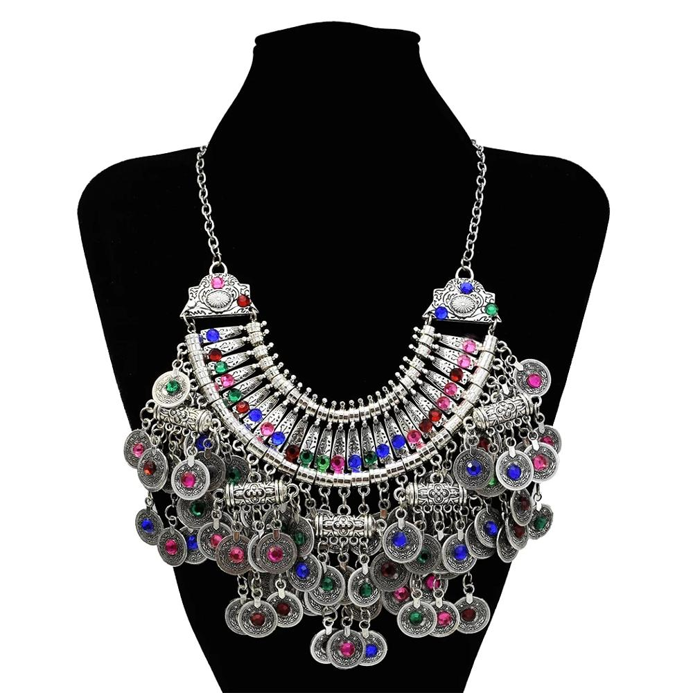 Clearance SaleEarring-Sets Necklace Party Jewelry Rhinestone Gypsy Turkish Silver-Color Afghan Women