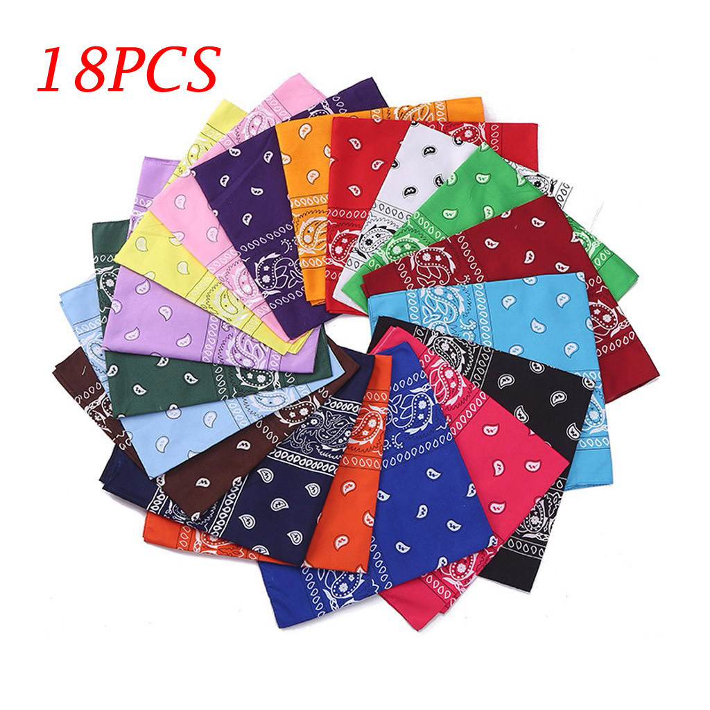 8/12/18Pcs Scarf Women Paisley Bandanas Multi Colored Set Cowboy Bandanna Head Scarf Double Sided Scarf Men 2020