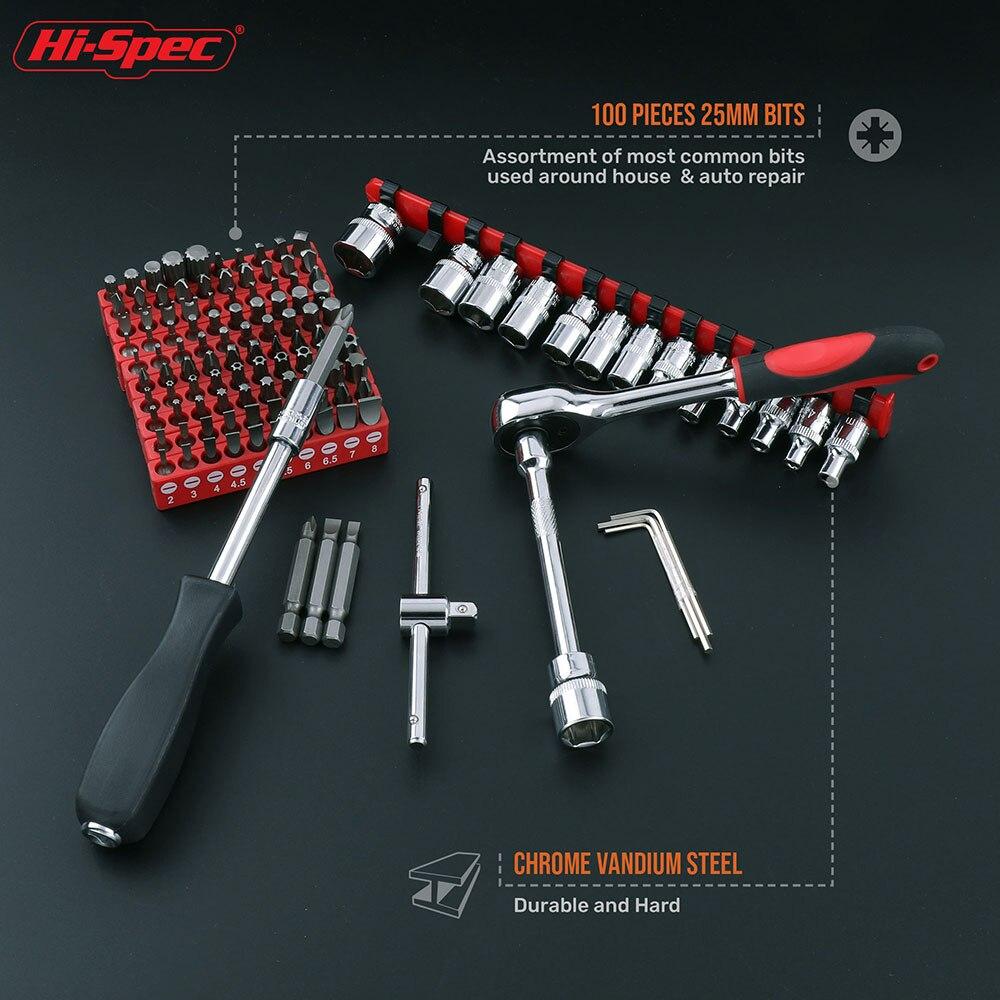 Tools : Hi-Spec 126pc Mechanics Car HandTool Set Ratchet Wrench Socket Set for Auto Motorcycle Repair with Plastic Toolbox Storage Case