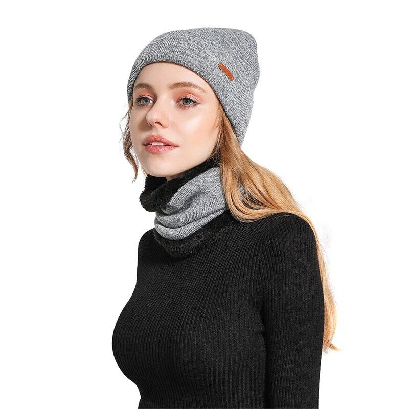 Knit Beanie Hat Ms. Thick Warm Beanie Hat Outdoor Riding Set Autumn And Winter Plus Cashmere Cap Female Hat Bib Two-piece