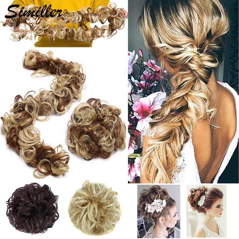 Similler Women Pony Tail Hair Extension Bun Elastic Wave Curly Synthetic Hairpieces Scrunchie Wrap For Hair Bun Chignon