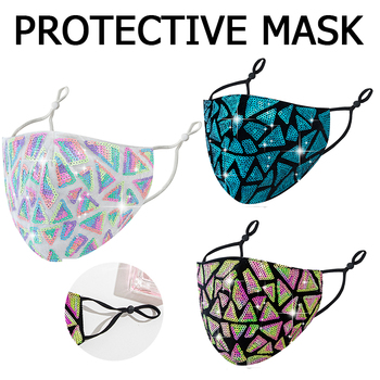 Adjustable Adult Sequin Mouth Mask Double-layer Breathable Dust-proof Cotton Face Mask Washable Reusable Masks image
