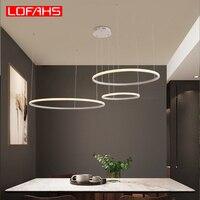 Lofahs criativo moderno led lustre para sala de estar quarto sala jantar círculo moldura anéis led lustres iluminação|Lustres| |  -