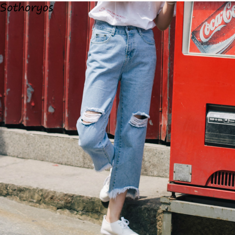 Jeans Women Summer Daily 2020 New Korean Style Loose Leisure All-match Daily Comfortable Hole Womens Straight Trousers Female