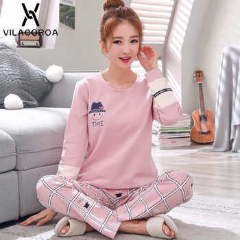 Autumn Winter Cotton Print Women\'s Pajamas Round Neck Long Sleeve Top Long Pant Pajamas Set Woman Sleepwear Girls Pyjamas Women