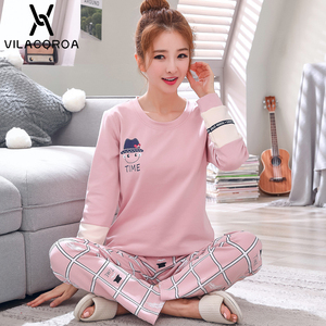 Image 2 - Autumn Winter Cotton Print Womens Pajamas Sleep Round Neck Long Sleeve Top Long Pant Pajamas Set Woman Sleepwear Pyjamas Women