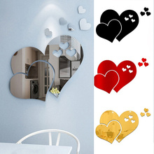 Decorative-Mirror Removable Wall-Sticker Acrylic Heart Home-Room Love DIY 3D 1set