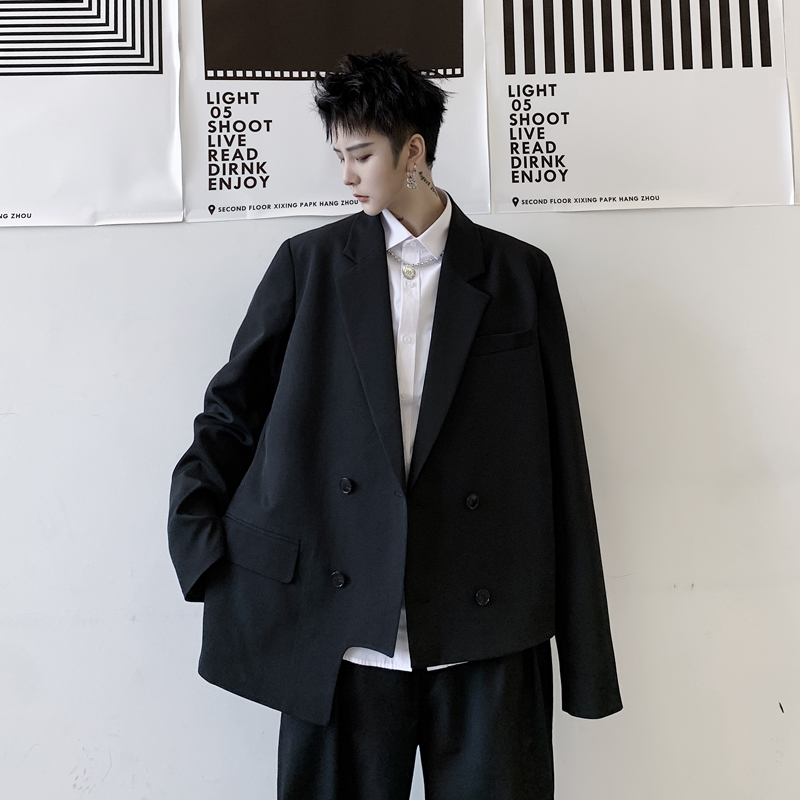 2020 New Men Asymmetry Hem Double Breasted Casual Blazer Coat Male Japan Streetwear Fashion Hip Hop Suit Jacket Outerwear