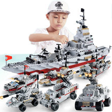1000+ PCS Military Warship Navy Aircraft Army Figures Building Blocks Army Warship Construction Bricks Children Toys