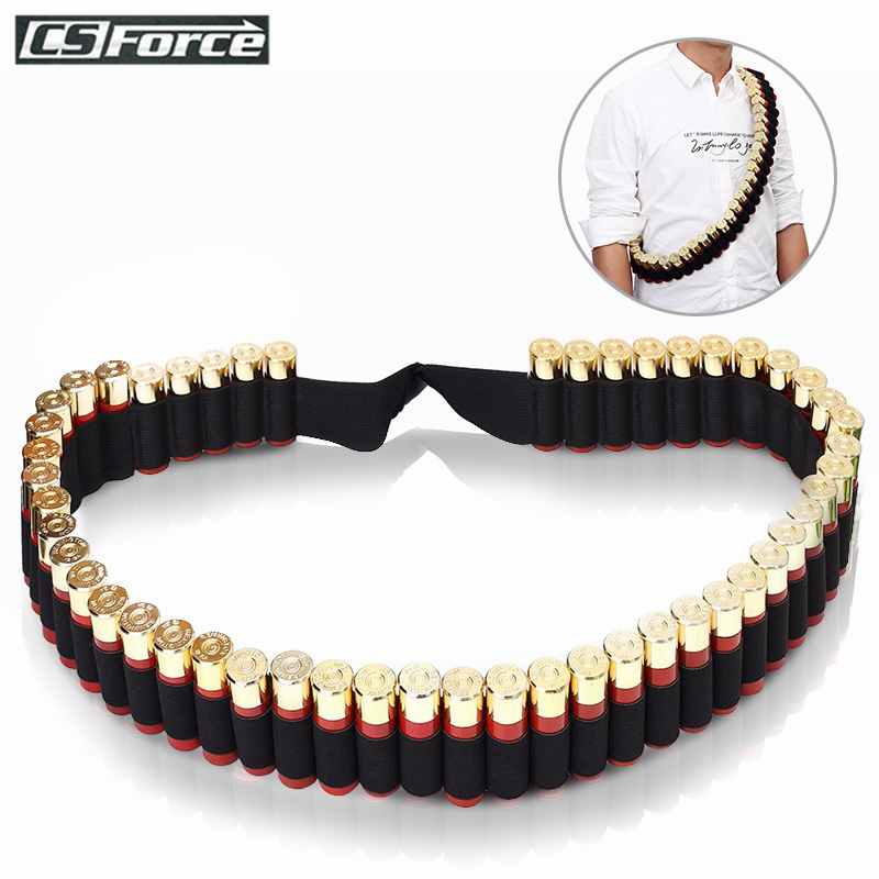 Tactical 50 Rounds 12/20GA Shotgun Bandolier Belt Hunting Ammo Holder Carrier Airsoft Rifle Shell Elastic Cartridge Waist Belt