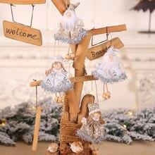 Kawaii Christmas Angel Snowman Plush Pendant Tree Doll Hanging Ornament Decor for Home Xmas Girl Ornaments