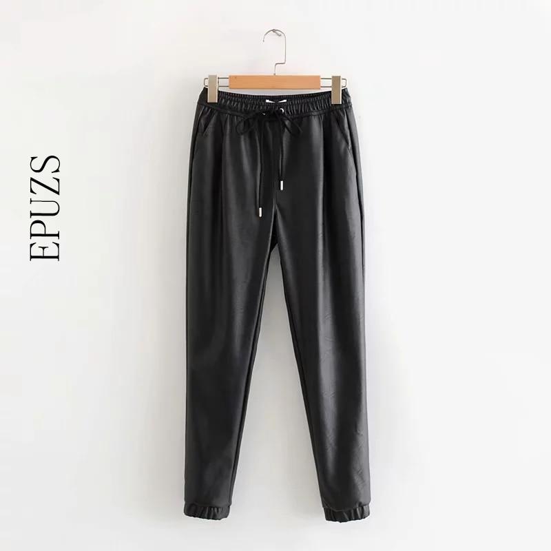 Autumn Winter Black Pu Leather Pants Women Trousers Female Punk Hip Hop Joggers Women Korean Streetwear Stretch Harem Pants