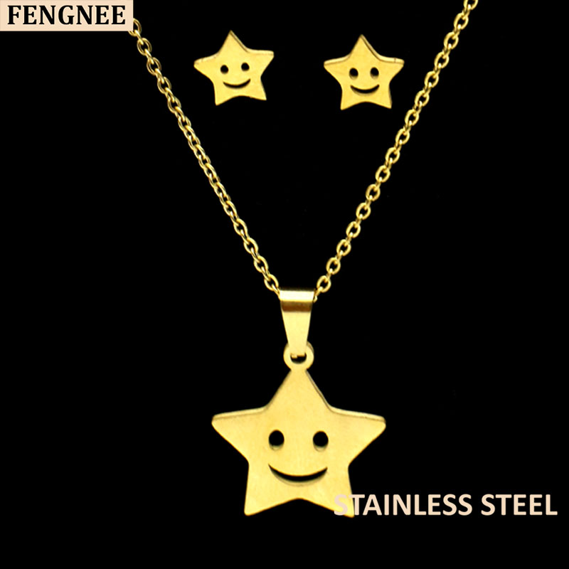 fengnee luxury Stainless Steel Jewelry sets For Women Love Gold Pendant star Necklace sets in Jewelry Sets from Jewelry Accessories