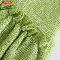 Tangada Women Green Tweed Dress Sleeveless Backless 2021 Fashion Lady Shirt Dresses 3H187 4